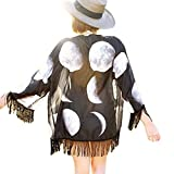 OverDose Women Lunar Eclipse Printed Chiffon Shawl Kimono Cardigan Tops Cover up Blouse