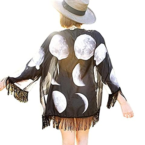 OverDose Women Lunar Eclipse Printed Chiffon Shawl Kimono Cardigan Tops