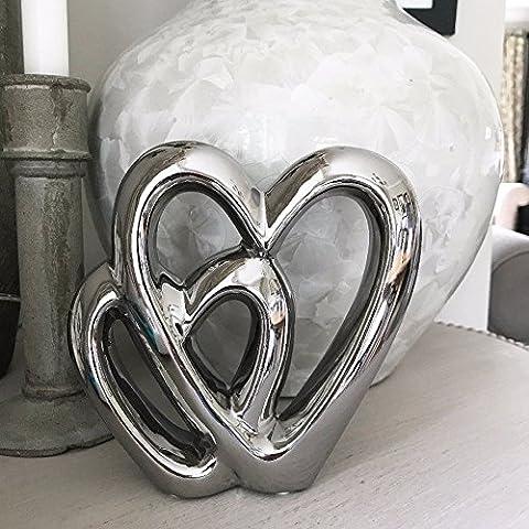 Siver Double coeur d'amour Ornement anniversaire Piédestale cadeau de mariage