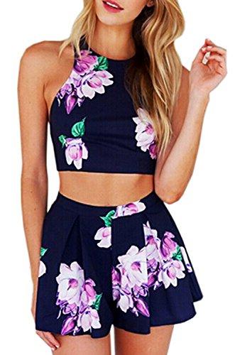 Minetom Damen Sommer Drucken Strand Party Einteiler Jumpsuit Clubwear Blumen Elegant Einteiler Overall Blau DE 40