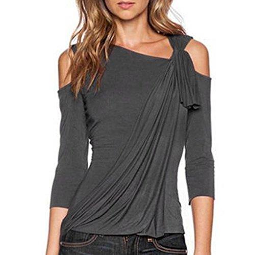 OVERDOSE Fashion Langarm Schulterfrei Niet Perlen Pailletten Frauen Spitze Shirt Bluse (S, D-Gray) (Braune Langarm-overall)