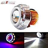 #10: AllExtreme Projector Lamp High Intensity Led headlight Stylish Dual Ring COB LED Inside Double Angel's eye Ring ( Red & Blue) Lens Projector For - All Bikes
