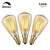 KINGSO 3xE14 Vintage Retro Edison Glühbirne Glühlampe (40W, ST48, Dimmbar) Ideal für Nostalgie und Antik Beleuchtung 2200K 220V Warmweiß