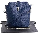 Primo Sacchi Italienisches Leder handgefertigt kleine dunkelblaue Strauß Effekt vorderen Verschluss Cross Body oder Umhängetasche Handtasche.Umfasst eine Marke schützenden Aufbewahrungstasche.