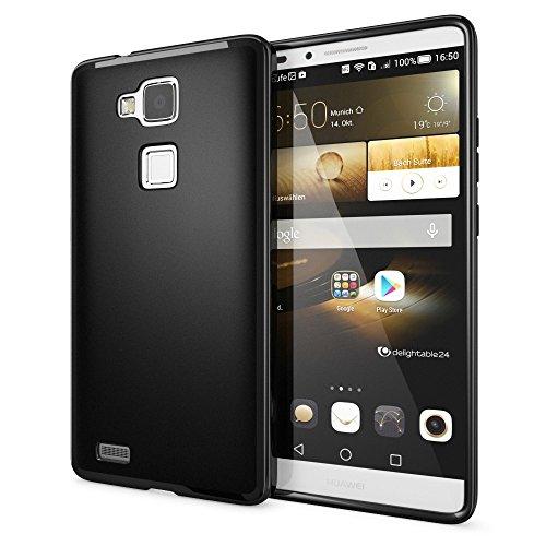 Huawei Ascend Mate 7 Coque Protection de NICA, Housse Silicone Portable Mince Souple, Tele-phone Case Cover Premium Incassable Ultra-Fine Resistante Gel Slim Bumper Etui - Mat Noir