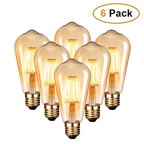 Edison Vintage Glühbirne, Edison LED Lampe Warmweiß E27 6W Retro Glühbirne Vintage Antike Glühbirne Ideal für Nostalgie und Retro Beleuchtung im Haus Café Bar usw - 6 Stück