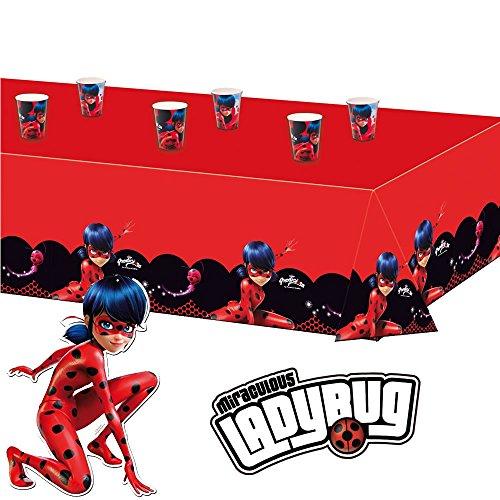 * für Kindergeburtstag oder Superheldinnen-Mottoparty // Marienkäfer Miraculous Lady Bug Table Cover Motto Party ()