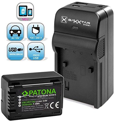 Baxxtar Razer 600 Ladegerät 5in1 mit Patona Premium Akku - Ersatz für Panasonic VW VBT190 (echte 2020mAh) - (Nicht für VXF11 VX11 V808) Sdr-t70-camcorder-batterie