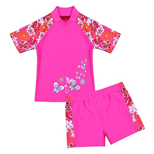 Agoky Mädchen Tankini Set Blumen Druck Print Zweiteiler Bikini Swimsuit Swimwear Kinder Badeanzug 98 104 110 116 122 128 140 152 Rose Rot 122-128/7-8 Jahre
