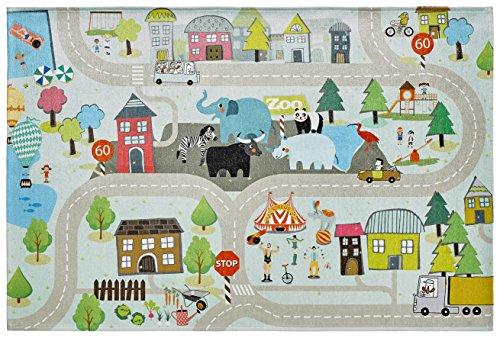 Flacher Kinderzimmer Teppich für das Kinderzimmer Print Bildteppich in satten Farben (080 x 120 cm, TOK 231 lustige Straße)