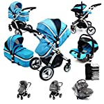i-Safe System - Ocean Trio Travel System Pram & Luxury Stroller 3 in 1 Complete with Car Seat + Footmuff + Carseat Footmuff + RainCovers