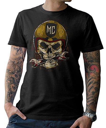 Moto Camiseta t-Shirt Calavera de Motocicleta Atornillador Roquero MC Talla S M L XL XXL 3XL 4XL 5XL - Negro/Negro, M