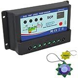 HQRP 10A Régulateur de Charge Batterie Panneau Solaire 12V / 24V 10 Amp type PWM de recharge + HQRP mètre du soleil