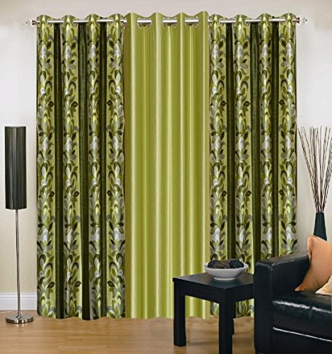 Galaxy Home Decor Modern Eyelet Polyester Curtain for Door,7-Feet(Green,GHDC)-Pack of 3