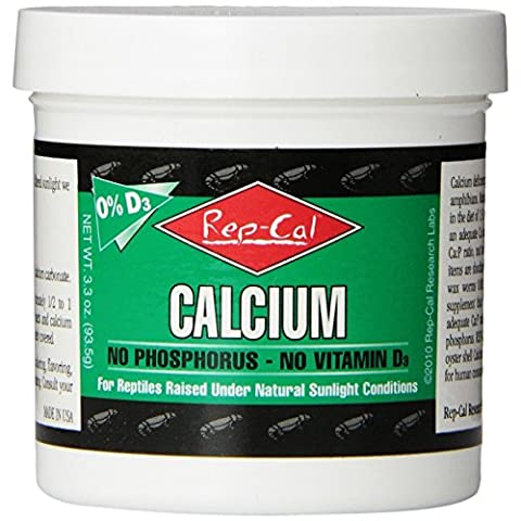 Rep Cal Ultrafine Calcium Without Vitamin D3 Supplements for Reptiles