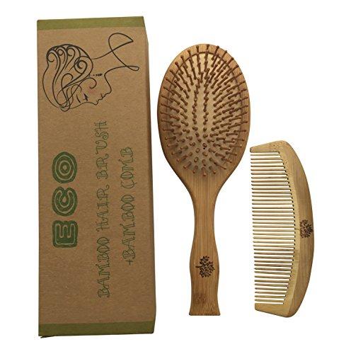 Bambou Brosse à cheveux et peigne en bambou Lot de 2 recycleable et écologique