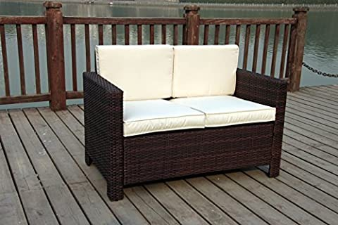 New Twin Rattan Wicker Conservatory Outdoor Garden Furniture Set Dark mixed brown