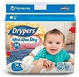 #9: Drypers Wee Wee Dry Medium Size Diapers 74 Counts