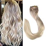 Full Shine Clip in Haar 14 Zoll/35cm 7Pcs 70g/Set Clip In Extensions Set Für Komplette Haarverlängerung 100% Echthaar Hochwertigeres Remy Haar Clip-In Hair Extension