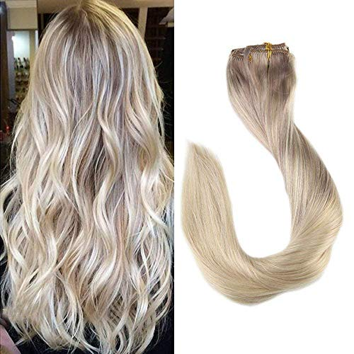 Full Shine Clip in Haar 14 Zoll/35cm 9Pcs 120g/Set Clip In Extensions Set Für Komplette Haarverlängerung 100% Echthaar Hochwertigeres Remy Haar Clip-In Hair Extension