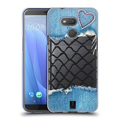 Head Case Designs Denim Herz Fischernetz Drucke Soft Gel Huelle kompatibel mit HTC Desire 12s (2018)
