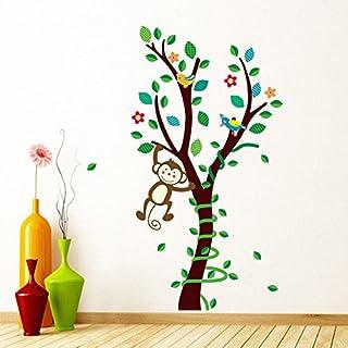 awakink Jungle Monkey Swinging auf Baum Wandtattoo Aufkleber Vinyl Abnehmbare Kunst Wandaufkleber für Mädchen und Jungen Kinderzimmer Kinder Schlafzimmer