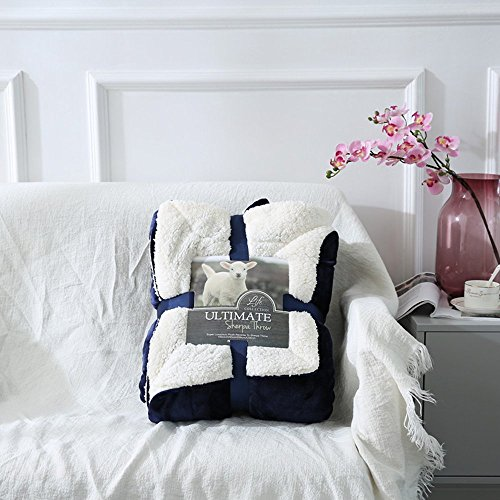 Spring Fever Sherpa Überwurf Thermo-Wrap Decke Weich Flanell Fleece All Season für Sofa Bett wendbar, navy, 80