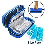 YOUSHARES Insulin Cooler Travel Case - Pratico farmaco isolato diabete di trasporto borsa di raffreddamento per insulina pen, misuratore di glucosio e forniture diabetiche con 3 Cooler Ice Pack (blu)