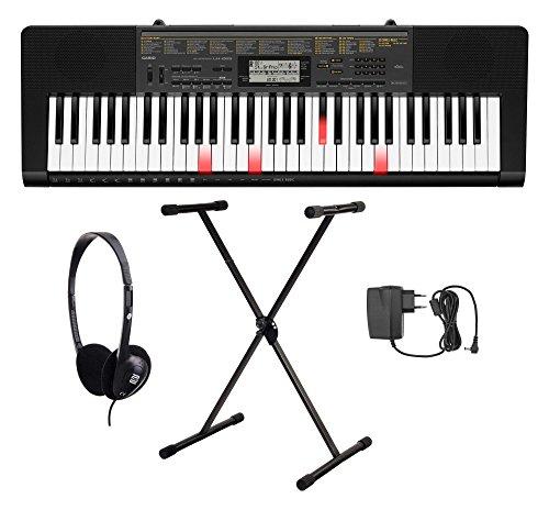 Casio LK-265 Leuchttasten Keyboard Set (61 Tasten, 32-fach polyphon, Dance Music Mode, Begleitautomatik, inkl. Ständer, Kopfhörer & Netzteil) Schwarz