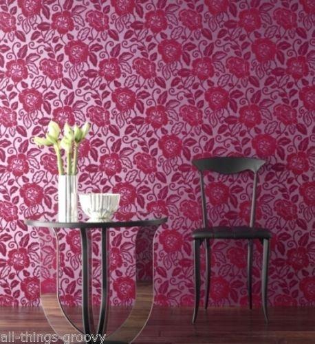 Sophie Conran para Arthouse Belle Flock-Papel pintado 980509Fucsia