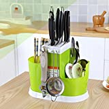 Holder Plastic for Kitchen Countertop/Dining Table Storage Home Use Kitchen Tool Knife Spoon Chopsticks Fork Multifunction Storage Box Rack Cutlery by ShinfeLife (Green)
