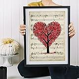 "Lámina para enmarcar ""Arbol corazón sobre partitura"". Nacnic. Láminas decorativas para pared. . Papel 250 gramos alta calidad"
