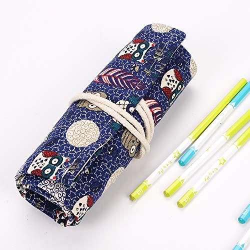 Astuccio per matite, per ragazze, ragazzi, studenti, adulti, scuola, astuccio, in tela, vintage, grande capacità, per penne, articoli da toeletta, regalo per la scuola misura unica foresta
