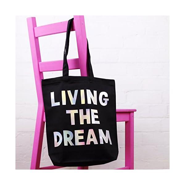 Tote Bag - Living The Dream - Black Cotton - handmade-bags