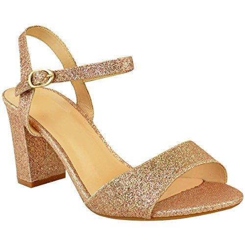 Fashion Thirsty heelberry Donne Tacco Basso e Largo Festa Nuziale Paillettes Sandali Scarpe da Matrimonio Taglie - Rosa Oro Glitter, 40