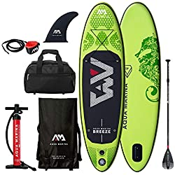 AQUA-MARINA Breeze Stand Up Paddle Gonflable Sup (Vert Pagaie + Pompe + Leash + Sac)