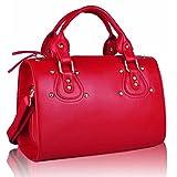 Xardi London Red Ladies Medium Matt Soft Faux Leather Bowler Women Designer Stud Barrel Handbags
