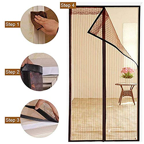 ACZZ Magnetic Screen Door Polyester Magnetic Curtain Magic Paste Curtains Super Quiet Stripes Encryption for Anti Mosquito or Anti Pest Magnetic Soft Door 120 X 220Cm,Braun,100 * 240CM Breeze Cross Strap