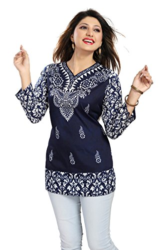 Color Petal Printed Crepe Blue Colour Short Kurti / Tunic / Top...