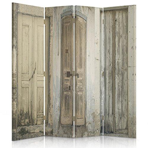 Feeby Frames Biombo impreso sobre lona, tabique decorativo para habitaciones, a doble cara, de 4 piezas, 360° (145x180 cm), PUERTA, EDIFICIO, RÚSTICO, MARRÓN