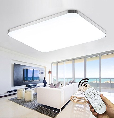 Stylehome®LED Deckenlampe Deckenleuchte Wandlampe Küchenlampen 6501-90W Silber volldimmbar mit Fernbedienung [Energieklasse A++] (Rechteck-lampen-farbtöne)