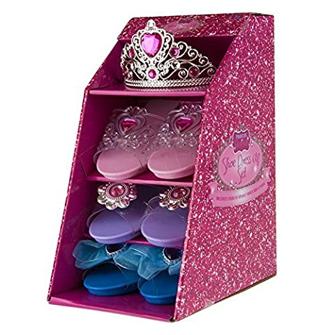 Girls Pink Pretty Princess Shoes Diamante Dress Up Fancy Gift Set (Set of 3 Shoes & Pink Tiara) by pretty princess
