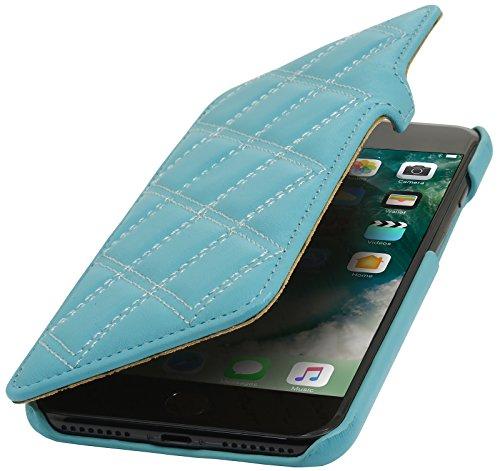 StilGut Book Type Case con clip, custodia in pelle cover per iPhone 7 (4,7) Chiusura a libro Flip-Case in vera pelle, Blu Scuro Nappa Turchese Nappa - Carato