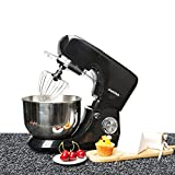 Minifair 7 Speed Electric Food Stand Mixer 800W 3-in-1 Beater/Whisk/Dough Hook With 5.5L Stainless Steel Bowl Black