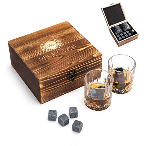 Geschenk-Set mit Luxus-Whiskey-Steinen, Whiskey-Gläsern und BeutelWiederverwendbare Kühl-Steine zum Kühlen der Getränke ohne Verwässerung, qualitativ hochwertiges Geburtstags-Geschenk oder für sich selbst.