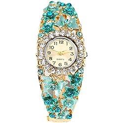 Suberde Women's Rhinestone Flower Butterfly Wrist watch - Blue