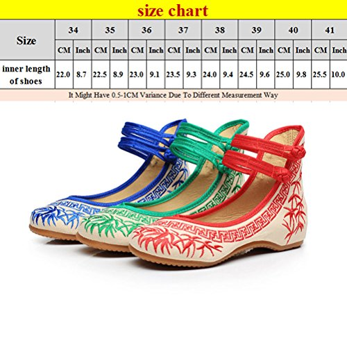 Zhhlinyuan Womens China Style Comfortable Shoes Classic Embroidered Cloth Shoes red