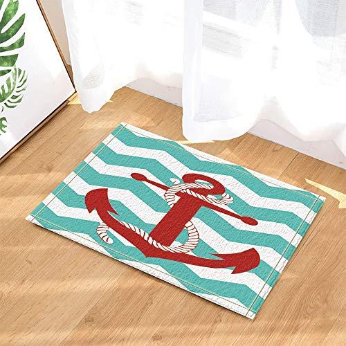 gohebe Nautisches Marine Decor Rot Anker auf Türkis stripesbath Teppiche rutschhemmend Fußmatte Boden Eingänge Innen vorne Fußmatte Kinder Badematte 39,9x59,9cm Badezimmer Zubehör -