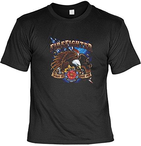 Firefighter-Biker Shirt /T-Shirt/Baumwoll-Shirt lässiger Feuerwehr-Aufdruck: Fire Fighter - cooles Motiv Schwarz