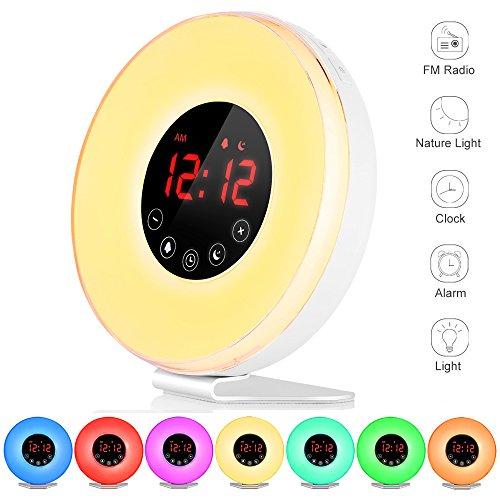 Wake Up Light, Luces Despertador, Simulación Crepúsculo (10 intensidades), 6 Alarmas y Función de Radio FM 7 Cambio de Color LED Luz de Noche con USB Cargador, Control Táctil